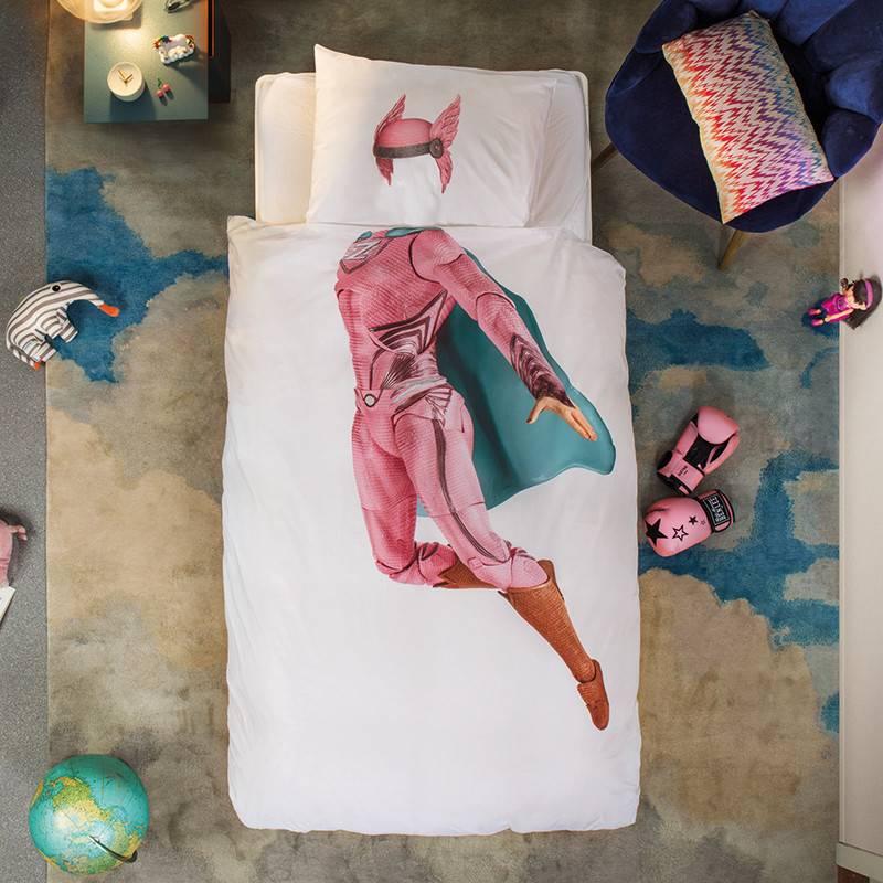 SNURK beddengoed Superheld dekbedovertrek roze