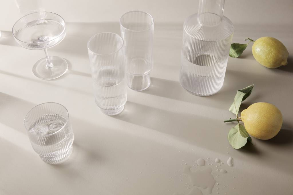 Fermliving Long drink glas geribbeld (set van 4)