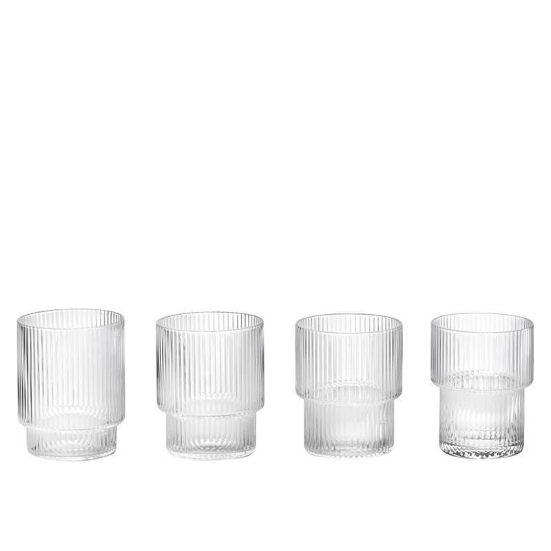 Fermliving Glas geribbeld (set van 4)