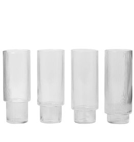 Fermliving Long drink glas geribbeld (set van 4)