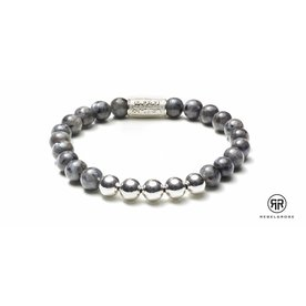 Rebel and Rose Rebel & Rose Grey Seduction Silver herenarmband RR-80003-S