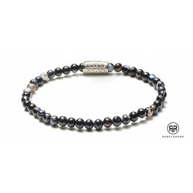 Rebel and Rose Rebel & Rose Black Velvet - Silver damesarmband RR-40010-S