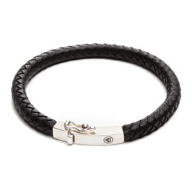 Rebel and Rose Rebel & Rose Small braided square black herenarmband RR-L0009-S-21