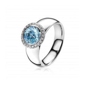 Zinzi Zinzi zilveren ring met lichtblauwe zirkonia zir1244B