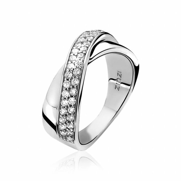 Zinzi ZINZI ring van zilver met witte zirconia's kruislings bezet