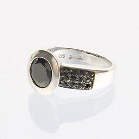 Zinzi Zinzi zilveren ring zwart ZIR841Z maat 54