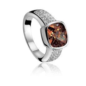 Zinzi Zinzi zilveren ring bruin ZIR375 maat 52