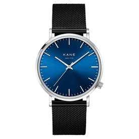 Kane watches Kane herenhorloge blue arctic black mesh SA100