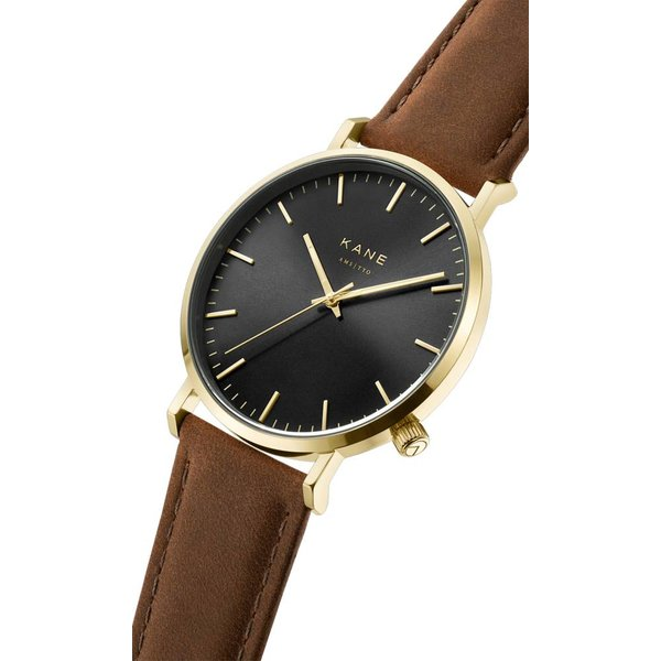 Kane watches Kane mens watch gold club vintage brown GB050