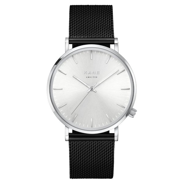 Kane watches Kane men's watch silver steel black mesh SS100