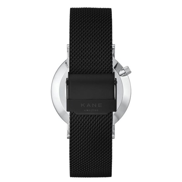 Kane watches Kane herenhorloge silver steel black mesh SS100