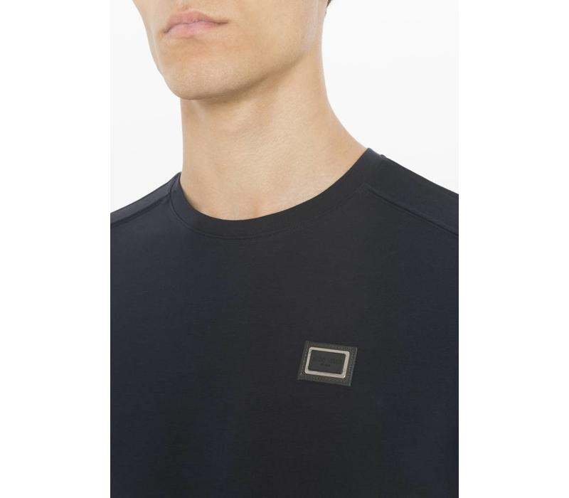 ANTONY MORATO T-SHIRT WITH LOGOED PLAQUE DETAIL NAVY