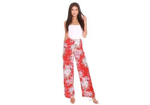 LA SISTERS LA SISTERS Flower Wide Leg Pants Red