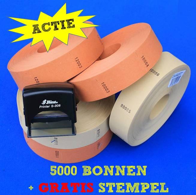 CombiCraft 5.000 blanco bonnen op rol (57x30 mm) + GRATIS STEMPEL