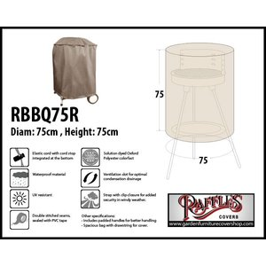 Raffles Covers Barbecue Cover for Kettle Barbecue, 75 cm H: 75 cm