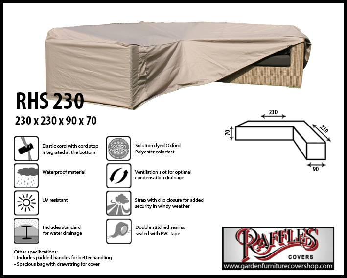 Raffles Covers Rattan Corner Sofa Cover 230 X 90 H 70 Cm