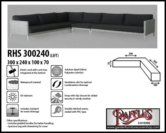 Raffles Covers Cover for L-shaped corner sofa 300 x 240 x 100, H