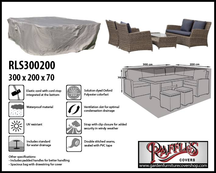 Raffles Covers Garden Lounge Set Weather Cover 300 X 200 H: 70 Cm