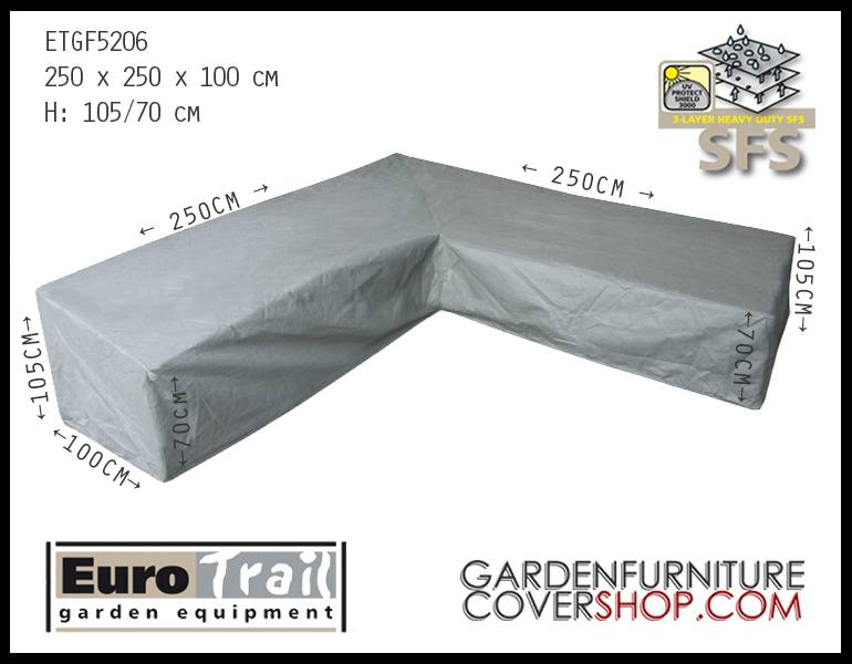 EuroTrail ETGF5206 Lounge Dining Furniture Cover For A L Shaped Sofa,  High Back
