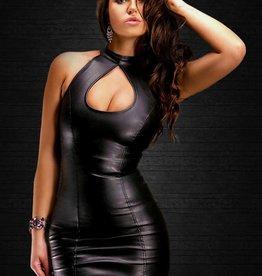 SOLEIL  by XXX COLLECTION Zwarte leren jurk met opening bij borsten