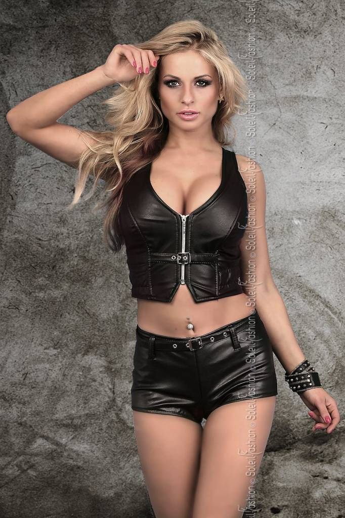 SOLEIL-FASHION by XXX COLLECTION Zwart leren hotpants met riempje