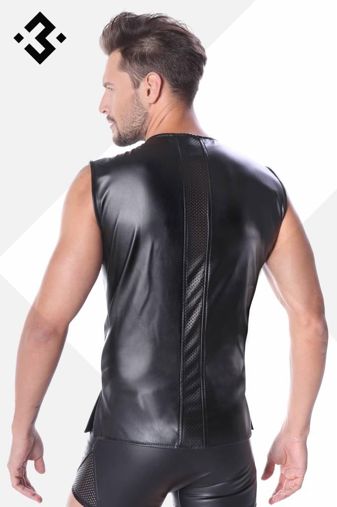 XXX COLLECTION Eco-Leren Shirt met mesh aan voor en achterzijde