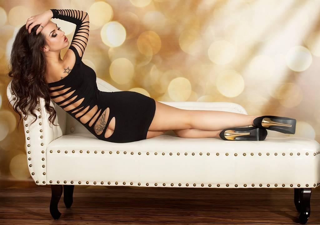 CHILIROSE Zwart naadloze jurk CR3608-B van Chilirose.  - Copy