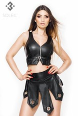 SOLEIL-FASHION by XXX COLLECTION Zwarte leren gladiator rok met stoere metalen ringen