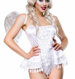Verleidelijke witte  engel set met vleugels