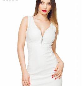 SOLEIL-FASHION by XXX COLLECTION Witte leren getailleerde jurk