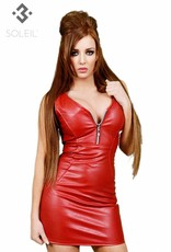 SOLEIL-FASHION by XXX COLLECTION Soleil-Fashion rood imitatie leer jurkje
