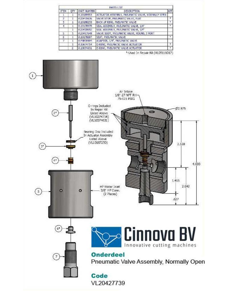 KMT Style Pneumatic Valve Assembly, NO, Dump Valve, 3 Port Round Body