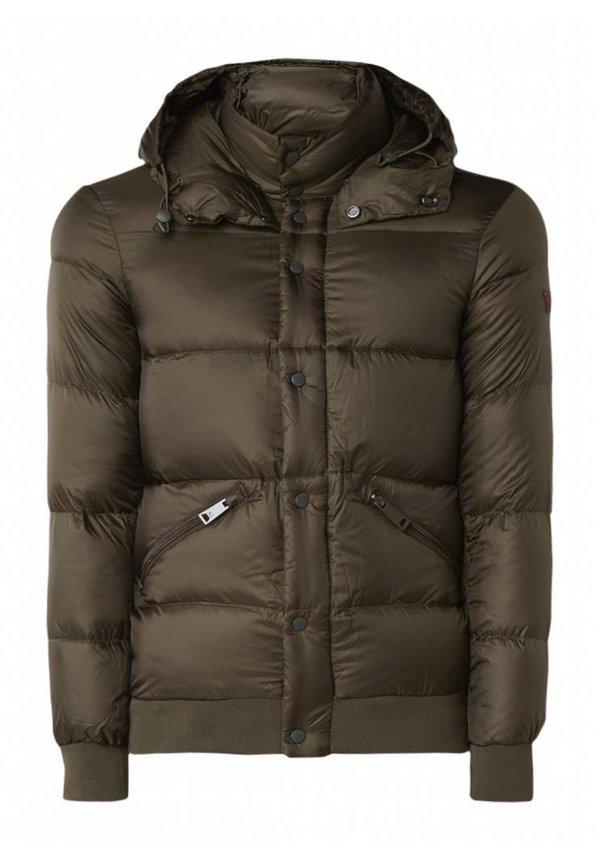 Down jacket with detachable hood