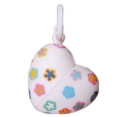 Bon ton nano kleine poepzakhouder hartvorm +bloemenmotief wit