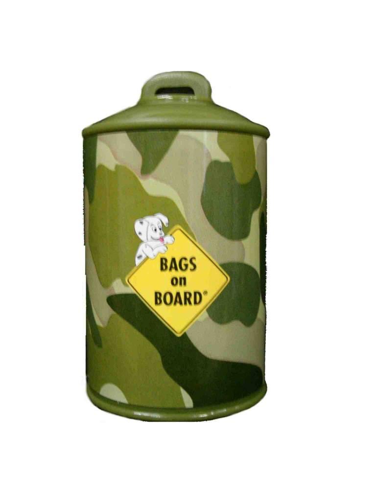 Bags on board poepzakhouder doosje in camouflage print + rol