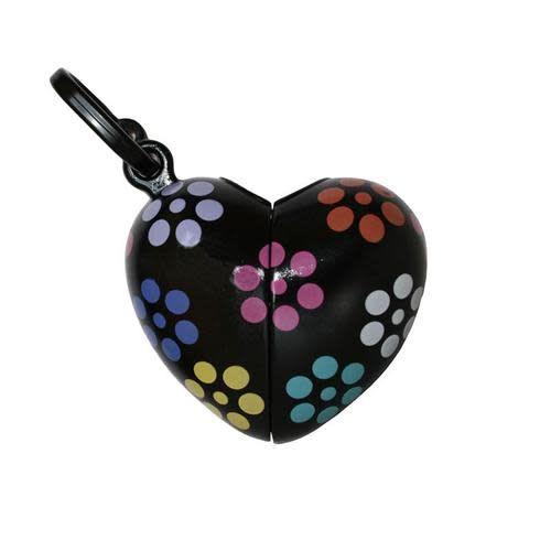 Bon ton nano kleine poepzakhouder hartvorm +bloemenmotief zwart