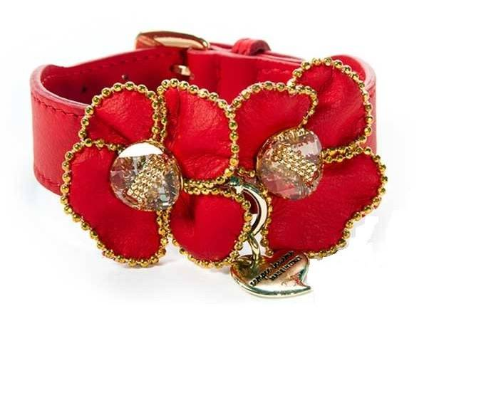 Malucchi halsband charm rood + grote bloem