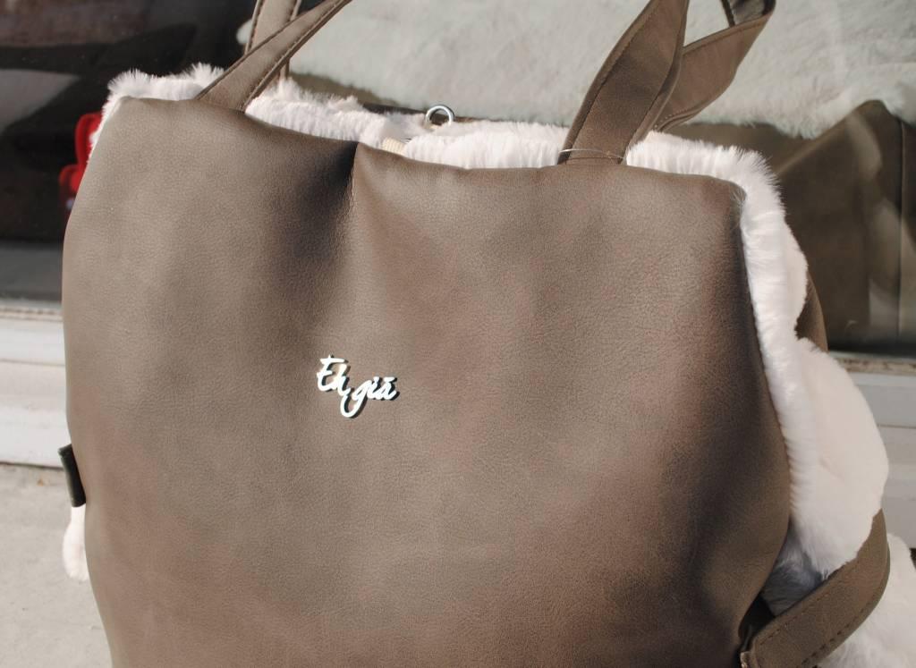 Eh Già furry bag bruin leder