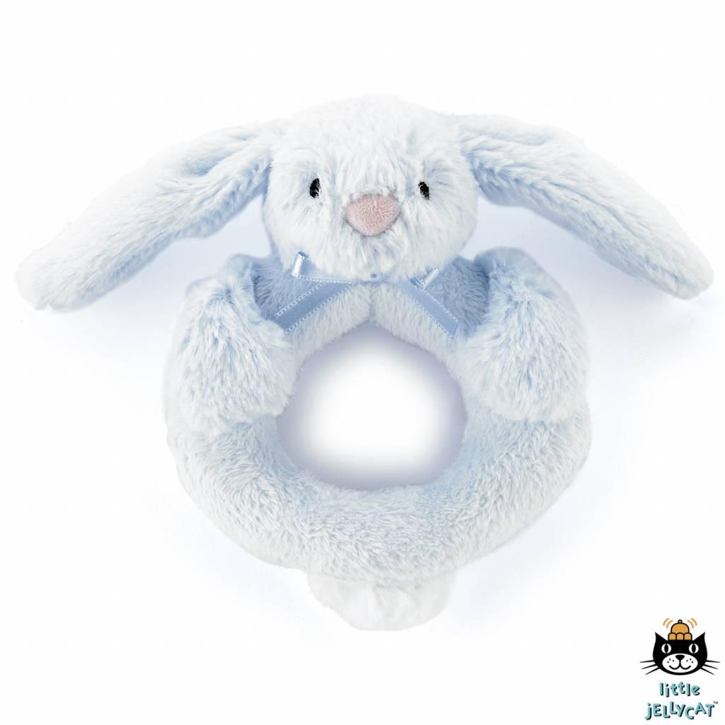 Jellycat Jellycat Bashful Blue Bunny Ring Rattle 12cm
