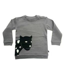 CarlijnQ CarlijnQ Sweater Happy Panther Grey (laatste, mt 98/104)