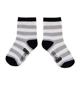 CarlijnQ CarlijnQ sock streep grijs (Maat 4-6 jaar)