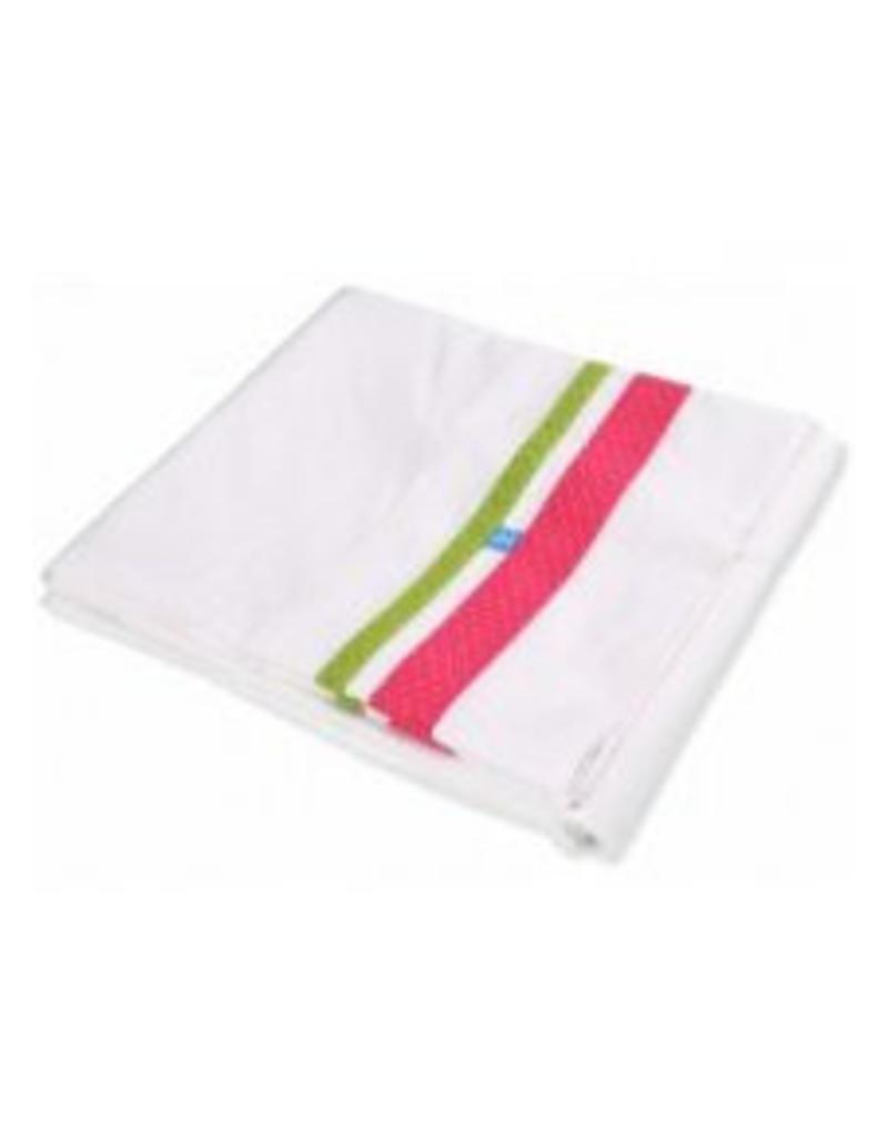 Lief! Lakentje wieg wit met groen/roze