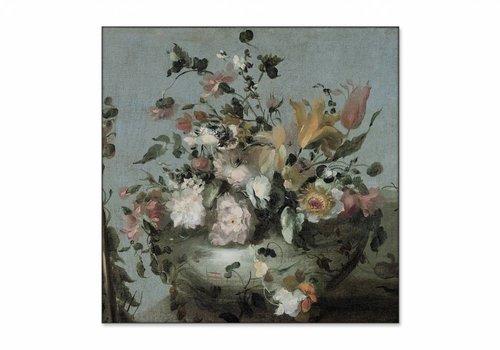 Bloemen • vierkante afdruk op textiel