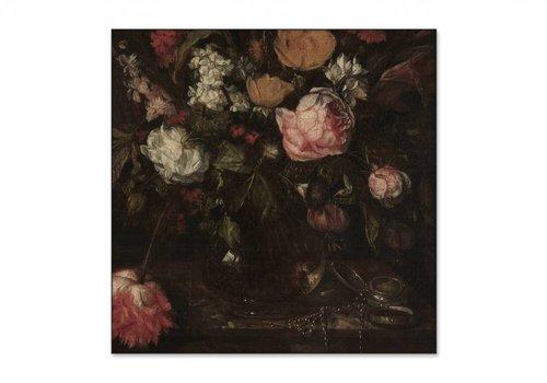 Stilleven met bloemen1 • vierkante afdruk op textiel