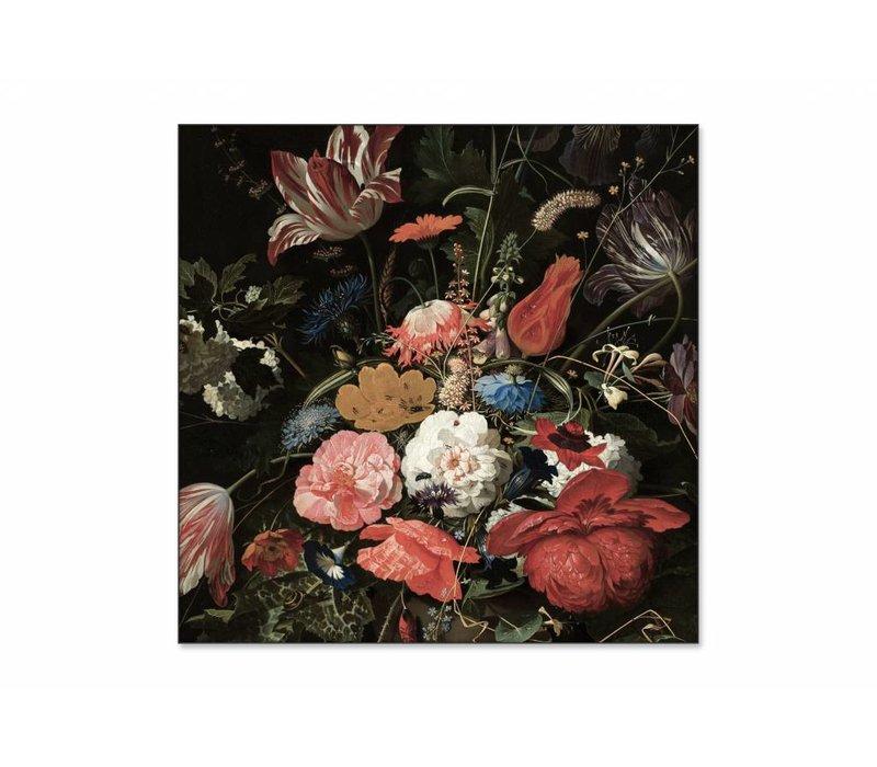Bloemen in een metalen vaas • vierkante afdruk op textiel