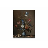 Bloemen in een Wan Li vaas met schelpen • staande afdruk op textiel
