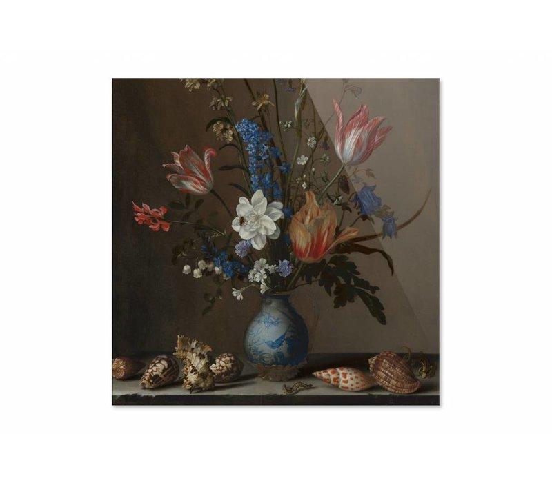 Bloemen in een Wan Li vaas met schelpen • vierkante afdruk op plexiglas
