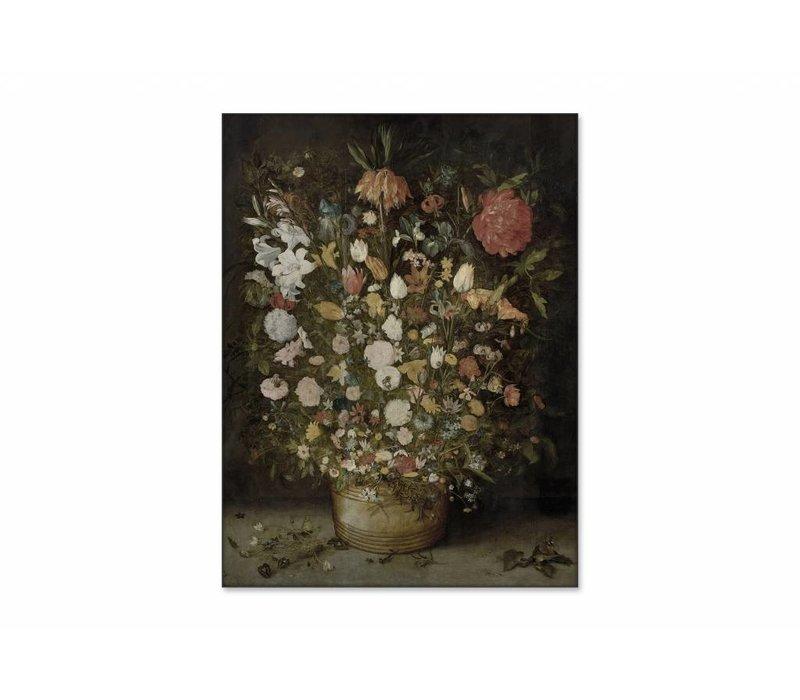 Bloemen in pot • staande afdruk op textiel