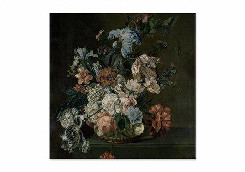 Stilleven met tulpen • vierkante afdruk op canvas