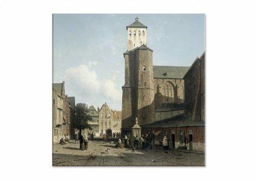 De kerk van St Denis te Luik • vierkante afdruk op canvas